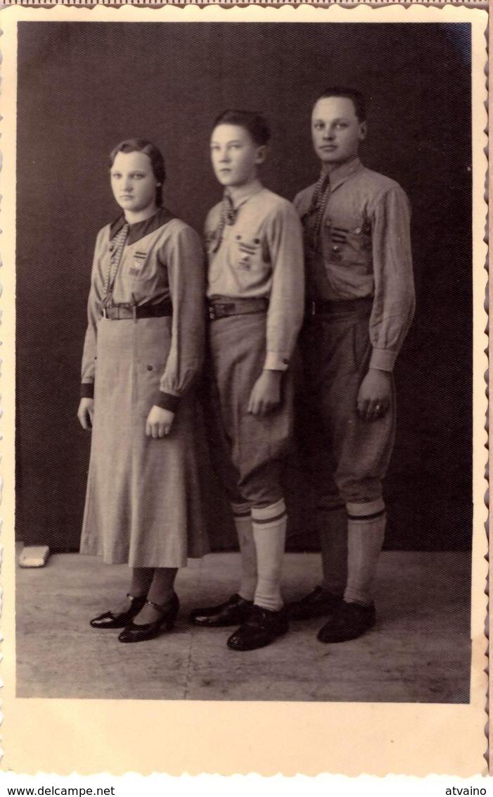 BOY SCOUTS Latvia.Lettland.Latvian Boy Scouts,uniforms ~ 1930 Original Photo - Scoutisme