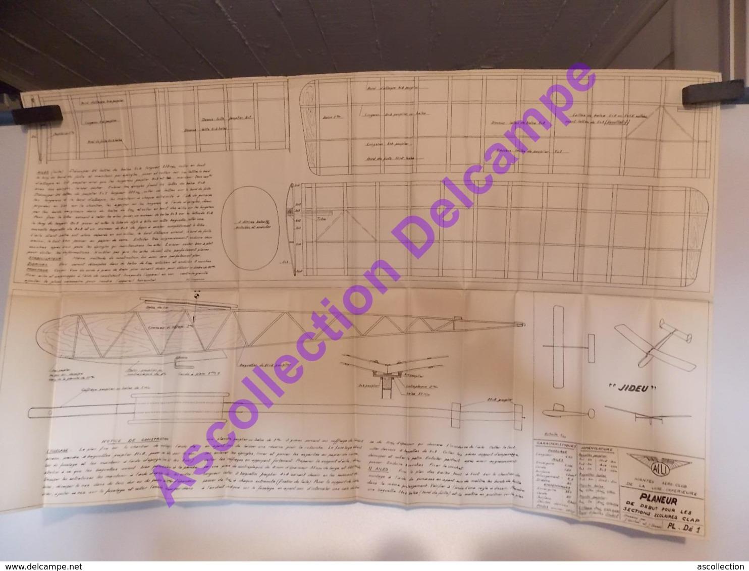 Plan Aeromodelisme Maquette Avion Planeur Acli Jideu Planeur - Avions