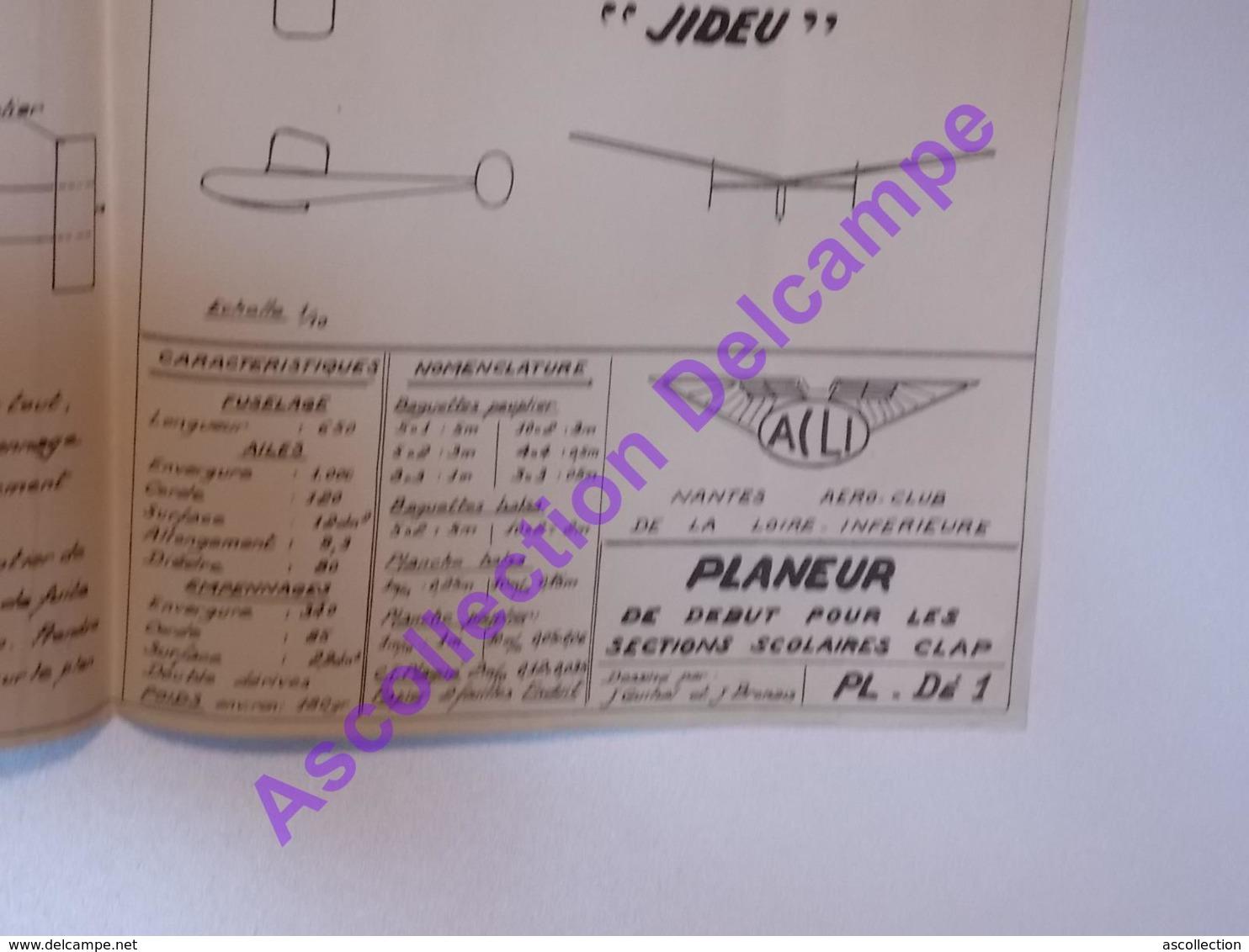 Plan Aeromodelisme Maquette Avion Planeur Planeur De Debut Section Scolaires Jideu - Avions