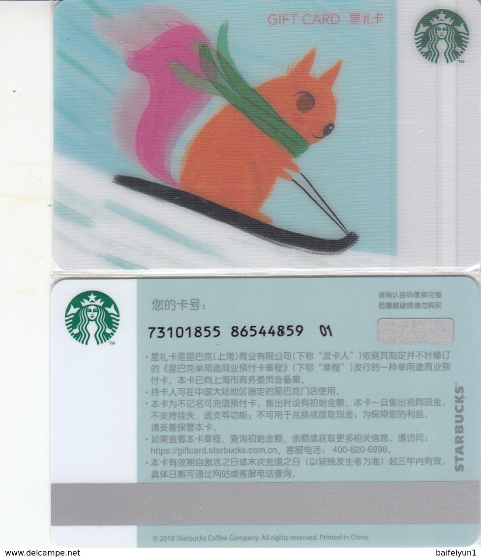 Starbucks 2018 China Christmas Skiing Squirrel Gift Card RMB100 - Chine