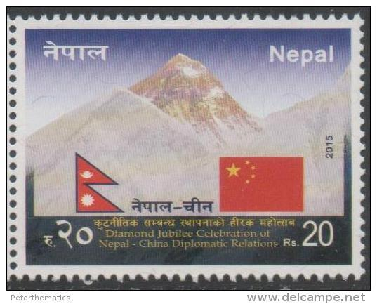 NEPAL ,2015, MNH, DIPLOMATIC RELATIONS WITH CHINA, FLAGS, MOUNTAINS, 1v - Geology