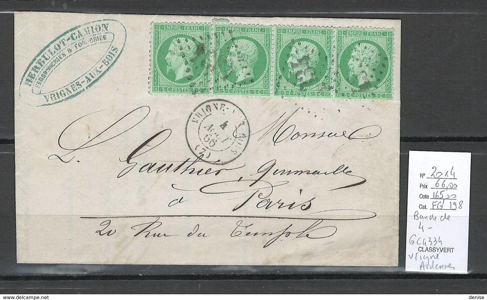 France  Lettre VRIGNE- ARDENNES - Yvert 20 En Bande De 4 - 1866 - Marcophilie (Lettres)