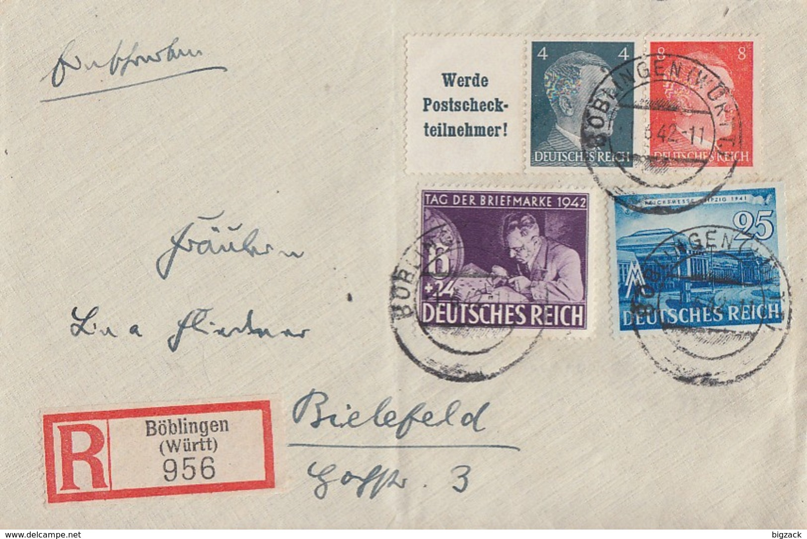 DR R-Brief Mif Minr.767,811 Zdr. Minr.W153 Böblingen 1.6.42 - Briefe U. Dokumente