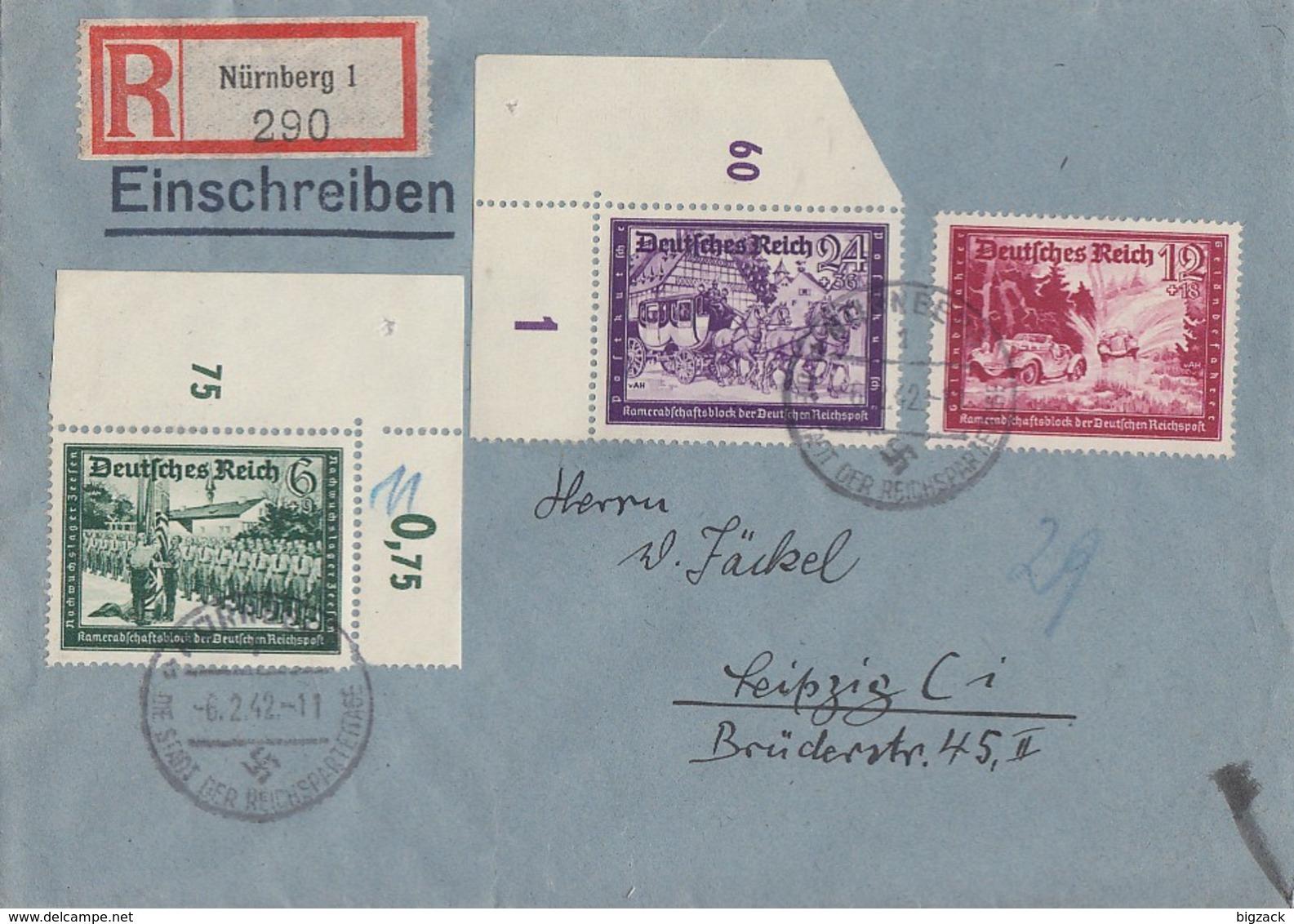DR R-Brief Mif Minr.705 OER,708,712 UER Nürnberg 6.2.42 - Deutschland