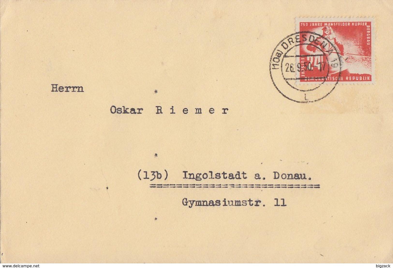 DDR Brief EF Minr.274 Dresden 26.9.50 - Briefe U. Dokumente
