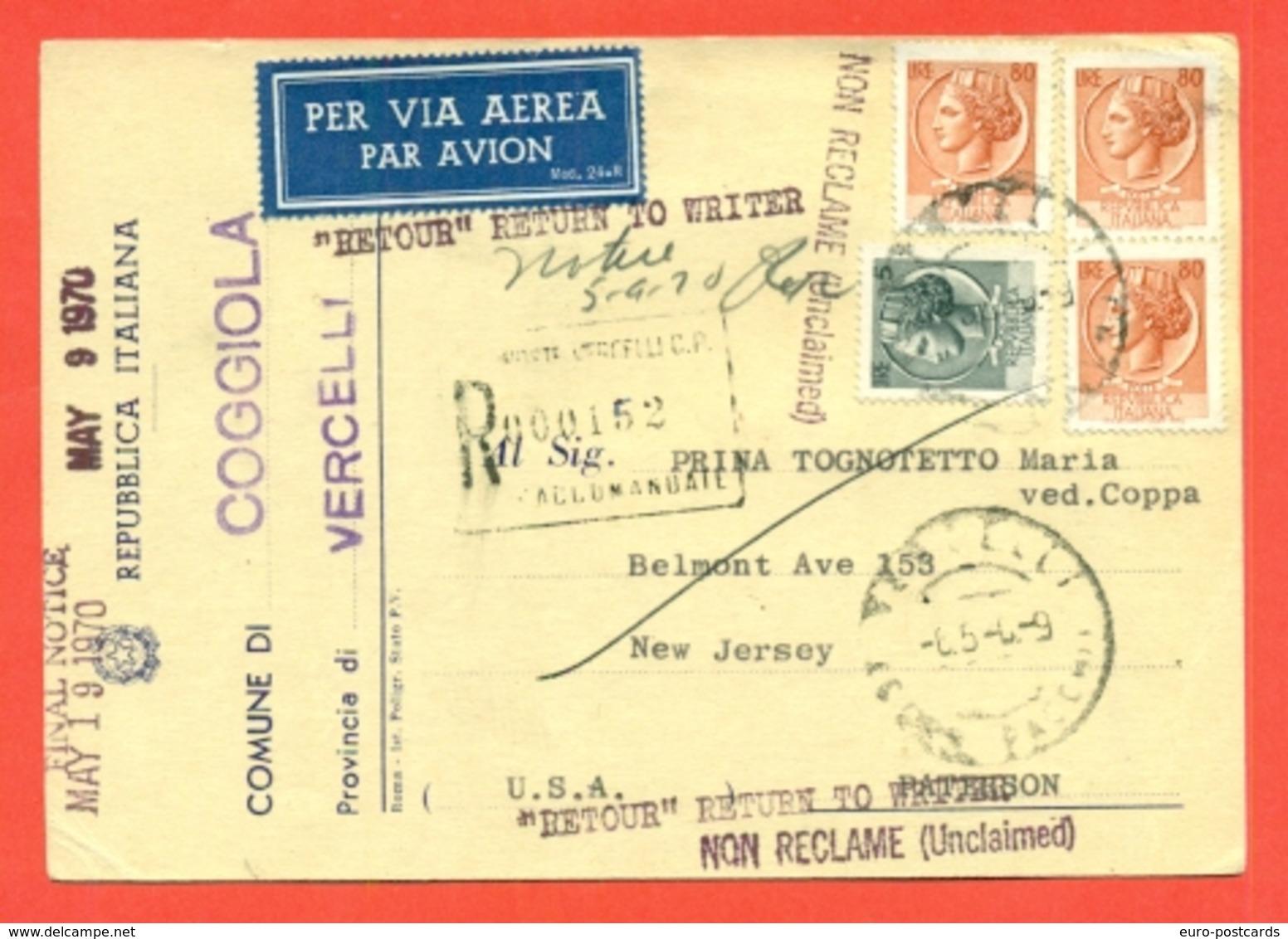 STORIA POSTALE PER L'ESTERO-CARTOLINA ELETTORALE RACCOMANDATA AEREA-DA COGGIOLA PER GLI USA-SIRACUSANA - 6. 1946-.. Republik