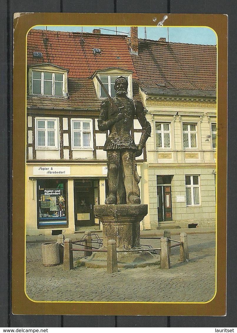 Germany PERLEBERG Roland Statue Sent, With Stamp - Perleberg