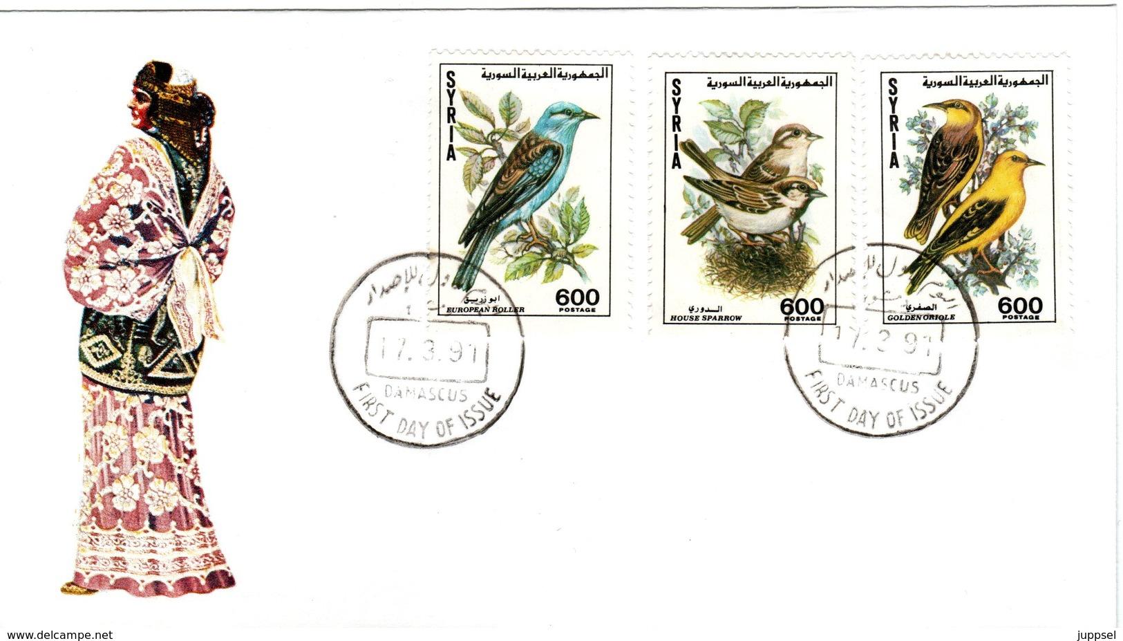 SYRIA  , First Day Cover, Songbirds, 1991 - Sperlingsvögel & Singvögel