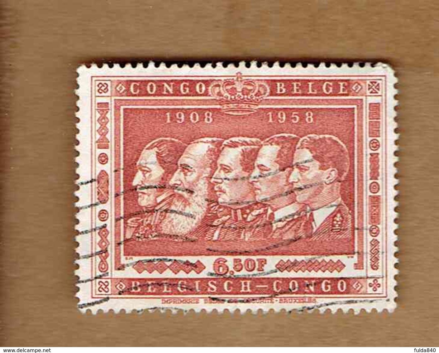 Congo Belge.(COB-OBP)  1958 - N°348    *CINQUANTENAIRE DU CONGO BELGE*     6,50F   Oblitéré - Congo Belge