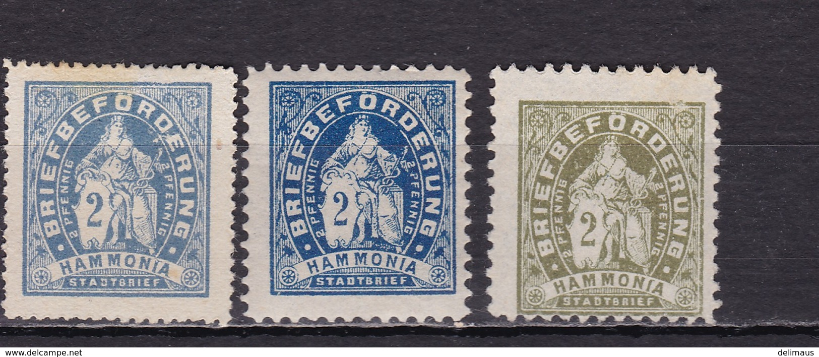 Deutsches Reich Privatpost Hamburg D HAMMONIA Mi.-Nr. 4 A/B Und Probedruck Oliv (unten Inschrift Stadtbrief) - Sello Particular