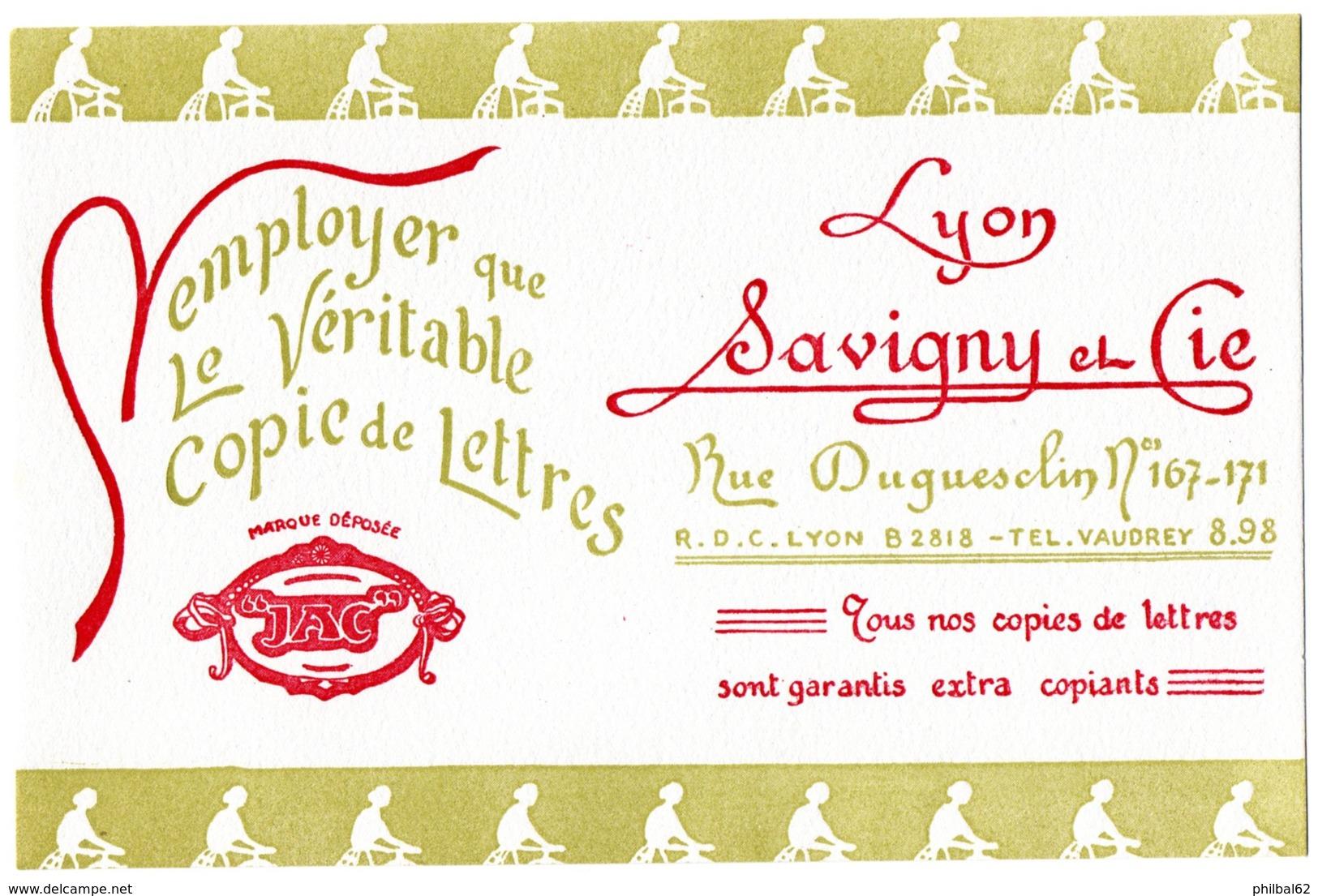 Buvard Savigny Et Cie. Imprimeur à Lyon, Copie De Lettres. - Stationeries (flat Articles)