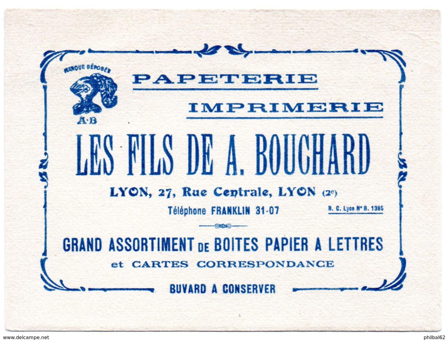 """Buvard Papeterie Imprimerie """"Les Fils De A. Bouchard"""", Rue Centrale à Lyon. - Stationeries (flat Articles)"""