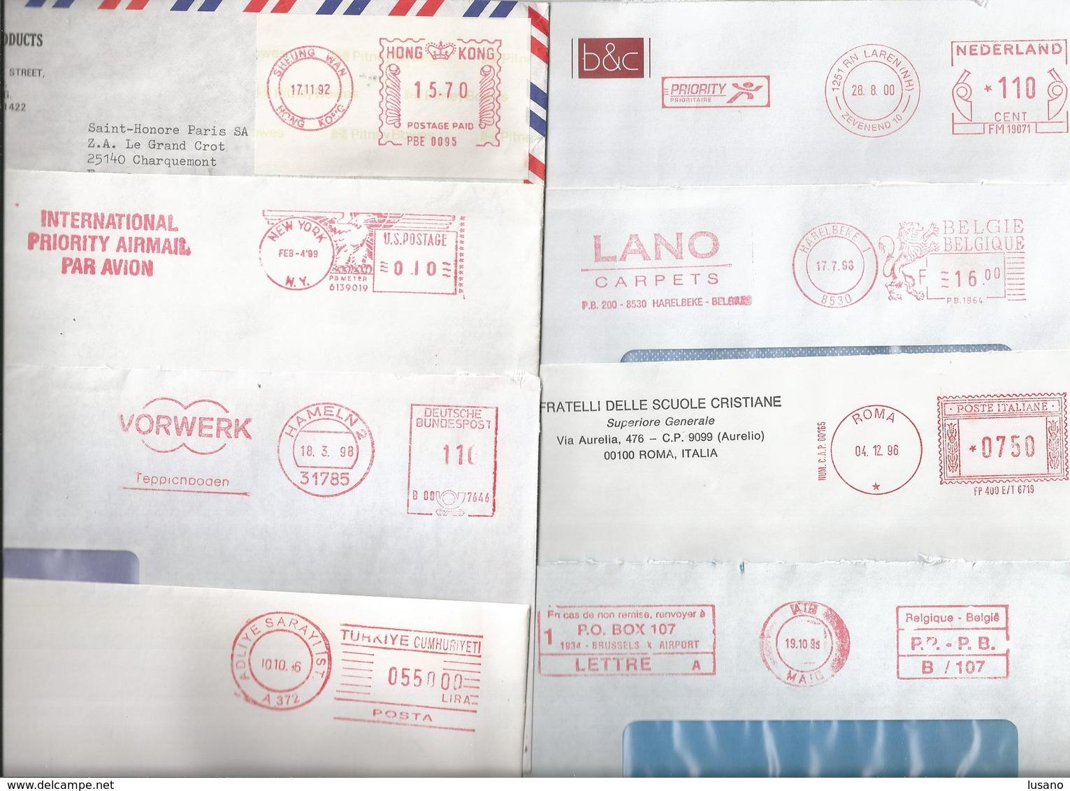 Lot De 20 Enveloppes En Provenance De Divers Pays Avec EMA - Timbres