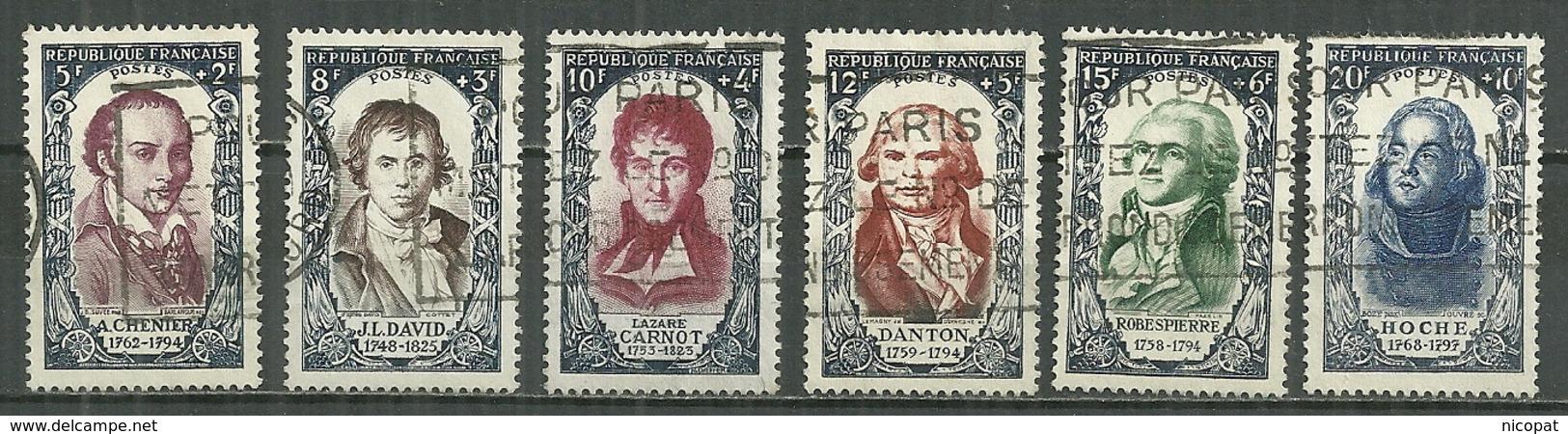 FRANCE Oblitéré 867-872 André Marie De Chénier Jacques Louis David Lazarre Carnot Georges Danton Robespierre Hoche - France