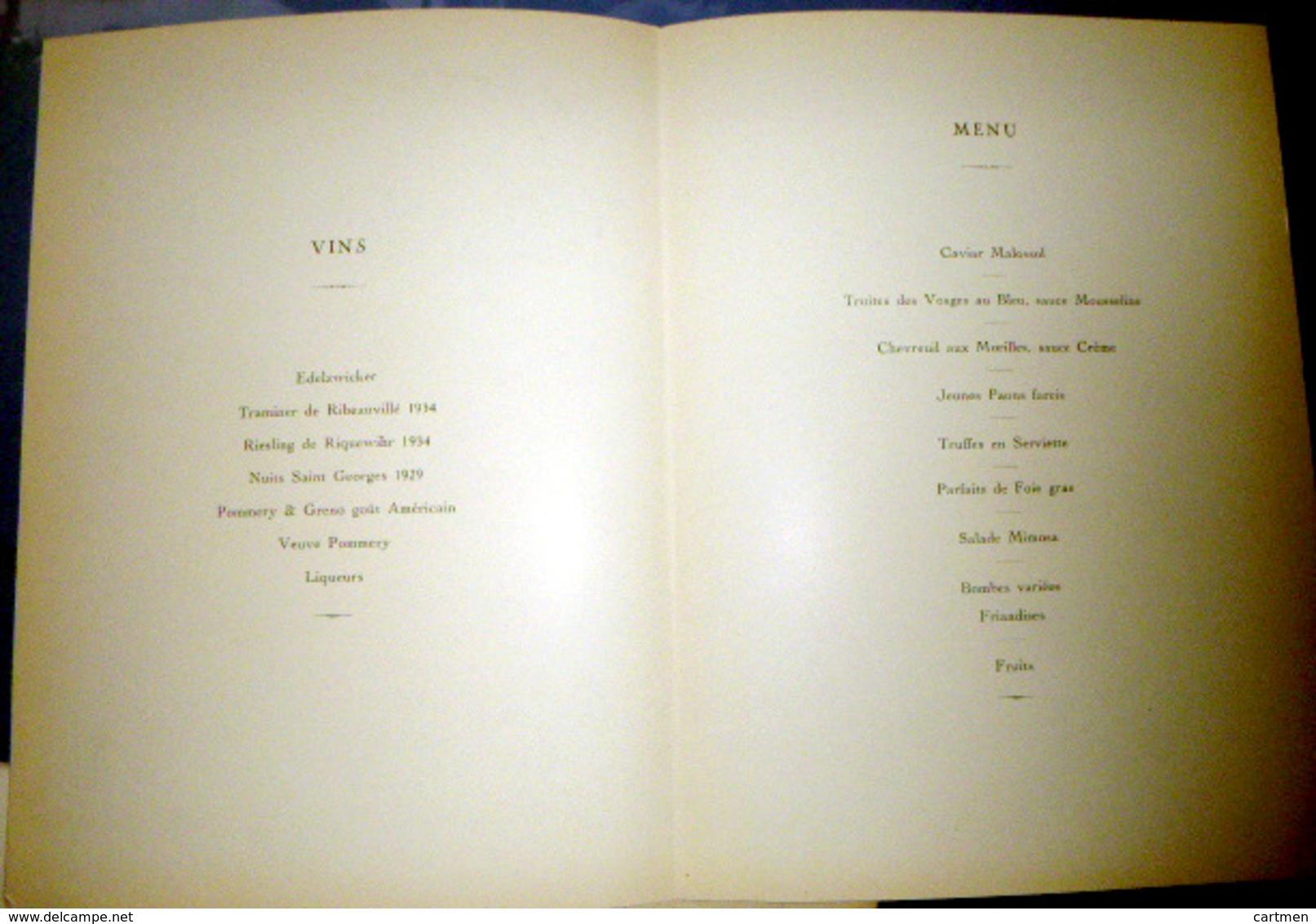 MENU PRESIDENTIEL 68 SAINTE MARIE AUX MINES INAUGURATION DU TUNNEL MENU OFFERT AU PRESIDENT DE LA REPUBLIQUE 1937 - Historical Documents
