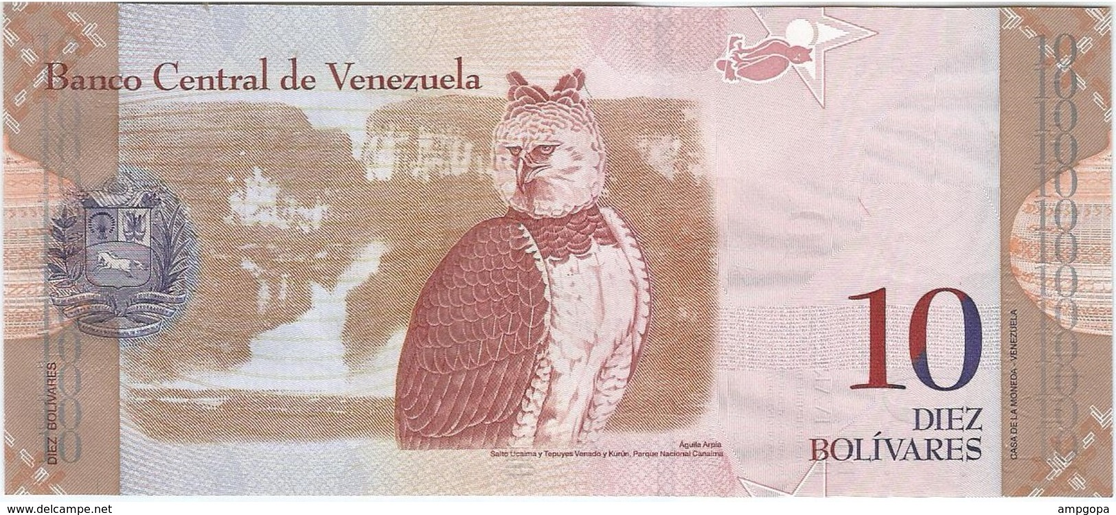 Venezuela 10 Bolivares 3-9-2009 Pick 90b UNC - Venezuela