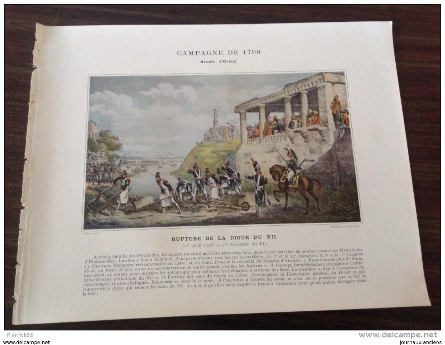 CAMPAGNE DE 1798 - RUPTURE DE LA DIGUE DU NIL - ARMÉE D'ORIENT - Vieux Papiers