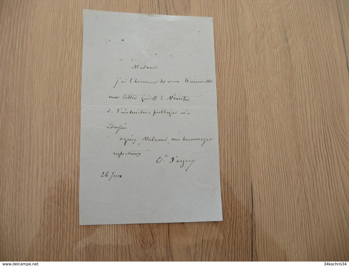 LAs Autographe Comte A.M. Apollinaire D'Argout  Politique Ministre Annonce D'envoi - Autogramme & Autographen