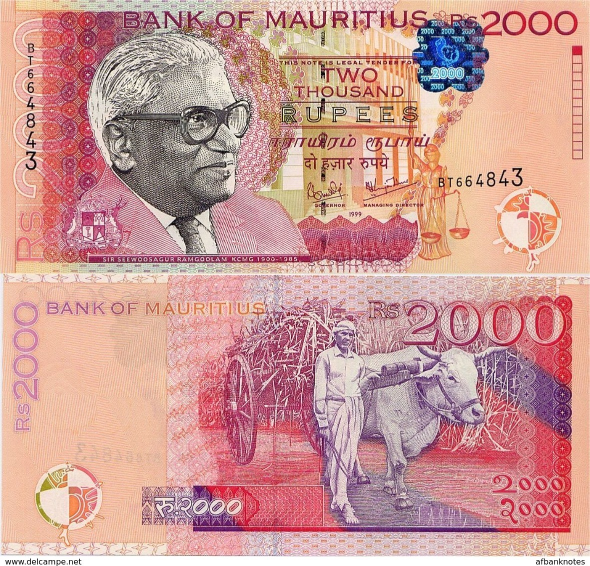 MAURITIUS       2000 Rupees       P-55       1999       UNC - Maurice