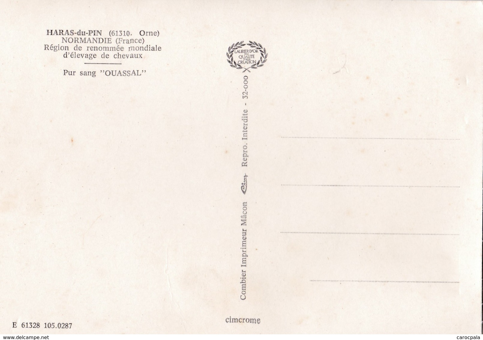 """Carte 1970 HARAS DU PIN / ELEVAGE DE CHEVAUX / PUR SANG """"OUASSAL"""" - Frankreich"""