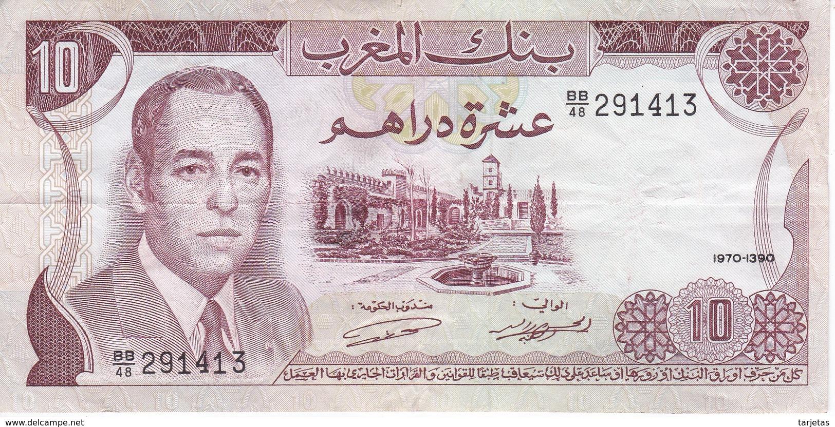 BILLETE DE MARRUECOS DE 10 DIRHAMS DEL  AÑO 1970  (BANKNOTE) - Maroc