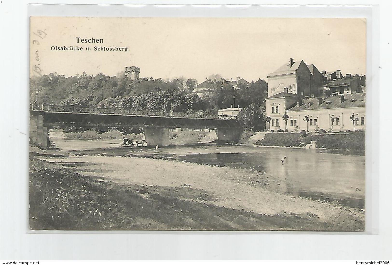Pologne Poland Teschen Olsabrucke Schlossberg , Timbre 10 Heller Autrichien 1908 - Polen