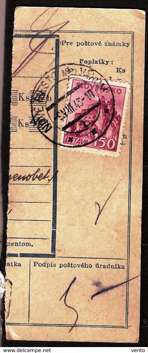 Slovakia Parcel Post 1945 ... Ak307 Nove Mesto Nad Vahom - Slovaquie