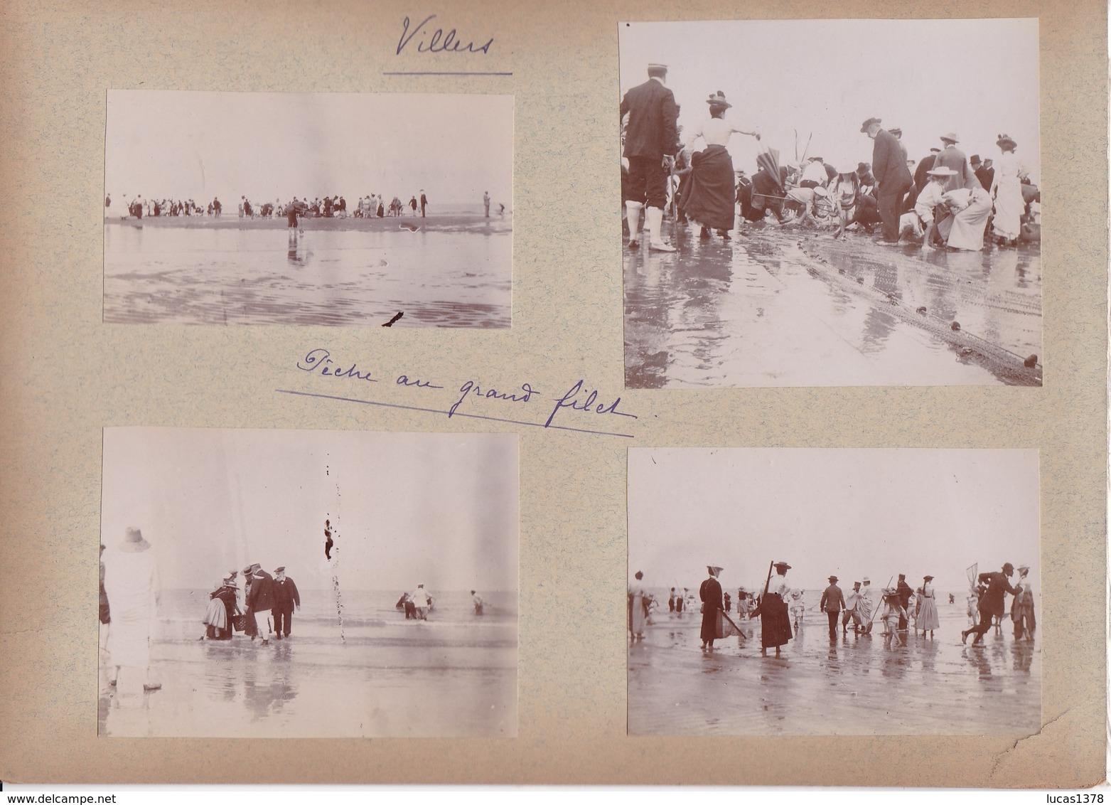14 /VILLERS  / 11 TRES BELLES PHOTOS 1900 / PECHE AU GRAND FILET / INTERIEUR EGLISE / VUE / - Villers Sur Mer