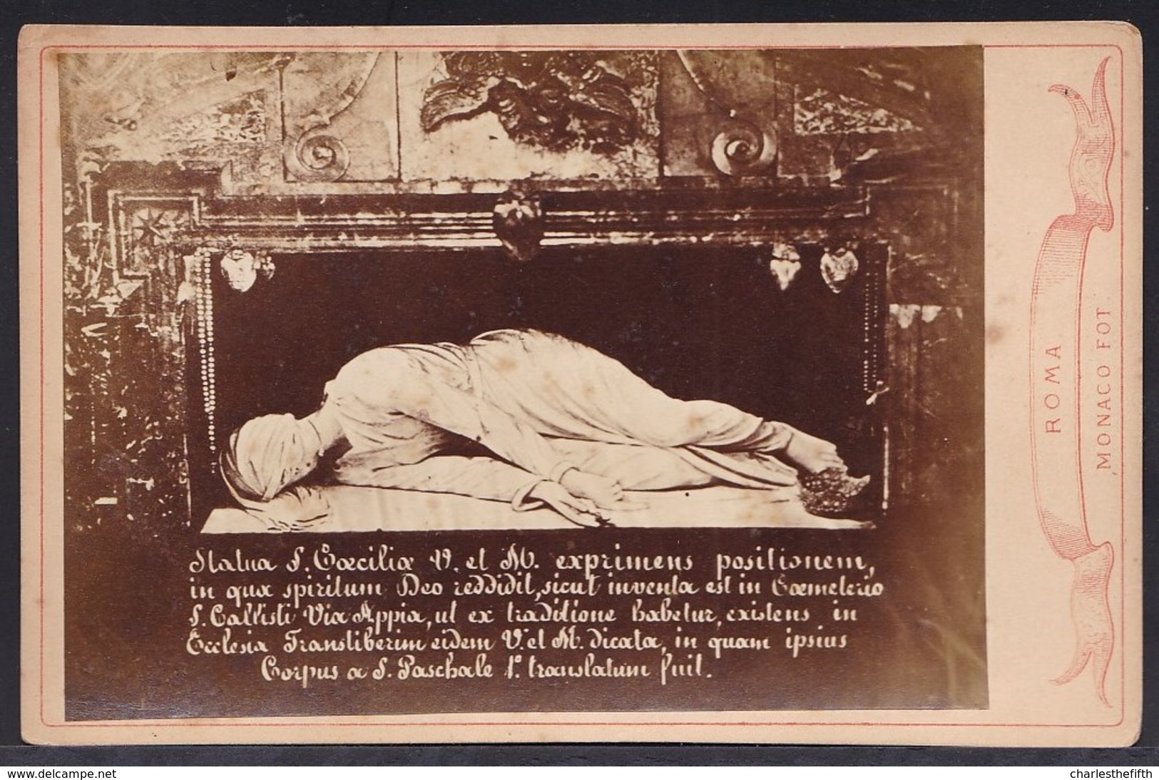 VIEILLE PHOTO ALBUMINE MONTEE SUR CARTON ** STATUA S. CECILIA ** PHOTO MONACO - RARE ! - Old (before 1900)