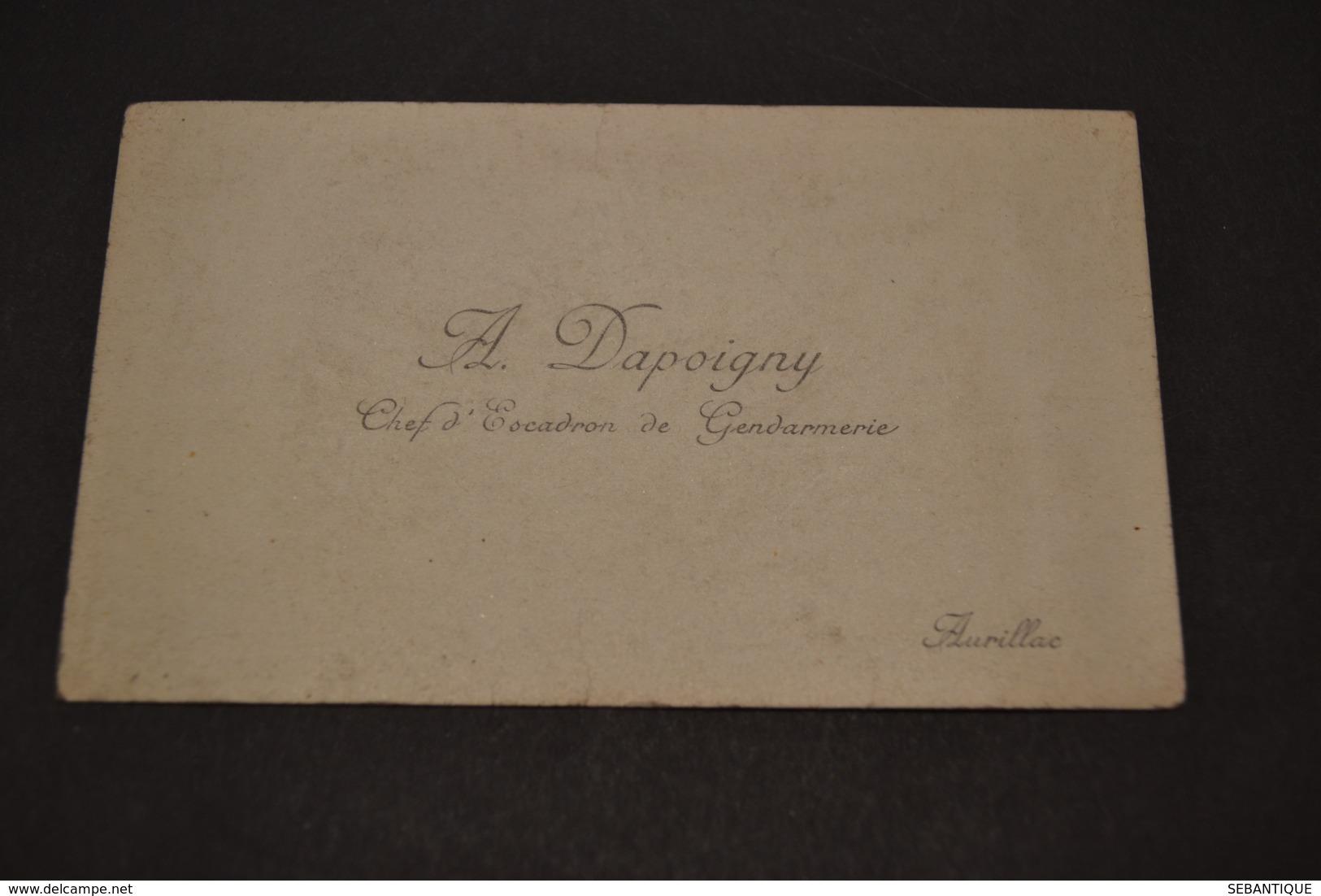 Carte A.Dapoigny Chef D'escadron De Gendarmerie 1920/30 - Cartes De Visite
