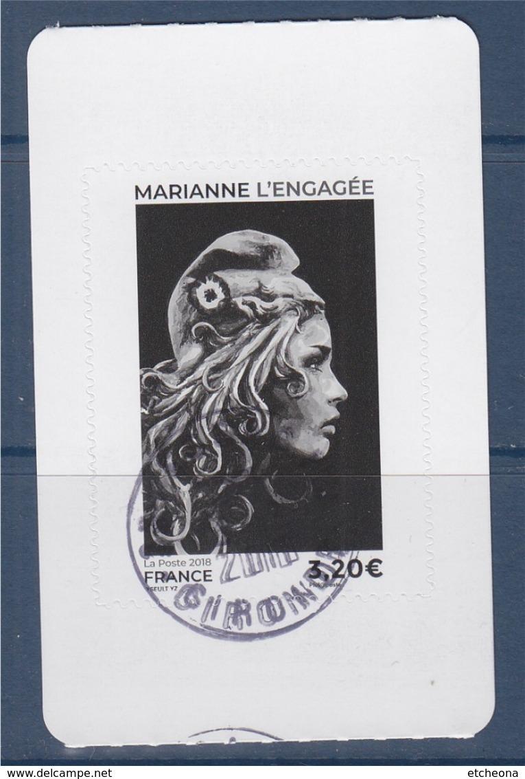 = Marianne L'Engagée 2018 De Carnet Dentelé Oblitéré Adhésif 3.20 Noir - 2018-... Marianne L'Engagée