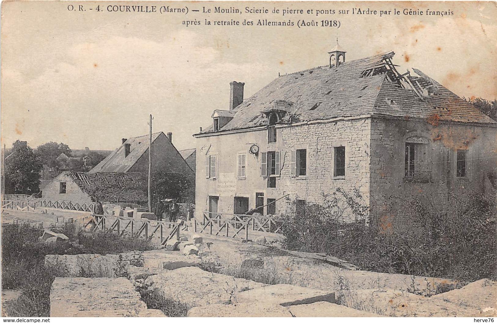 COURVILLE - Le Moulin, Scierie De Pierre Et Ponts Sur L'Adre Par Le Génie Français Après La Retraite Des Allemands - Autres Communes