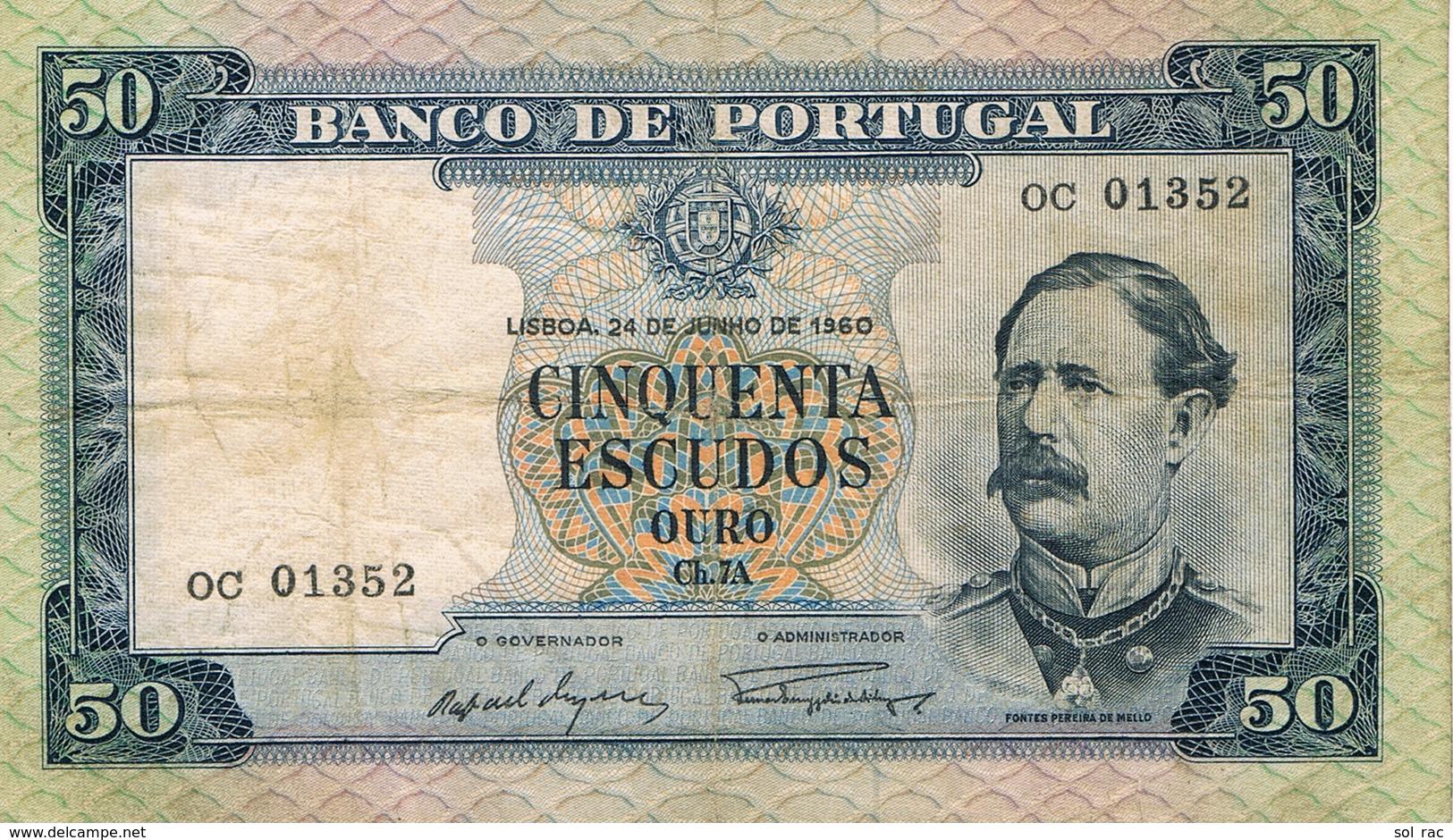 50 ESCUDOS FONTES PEREIRA DE MELLO - CHAPA 7A - DE 24 DE JULHO DE 1960-BANCO DE PORTUGAL - Portugal
