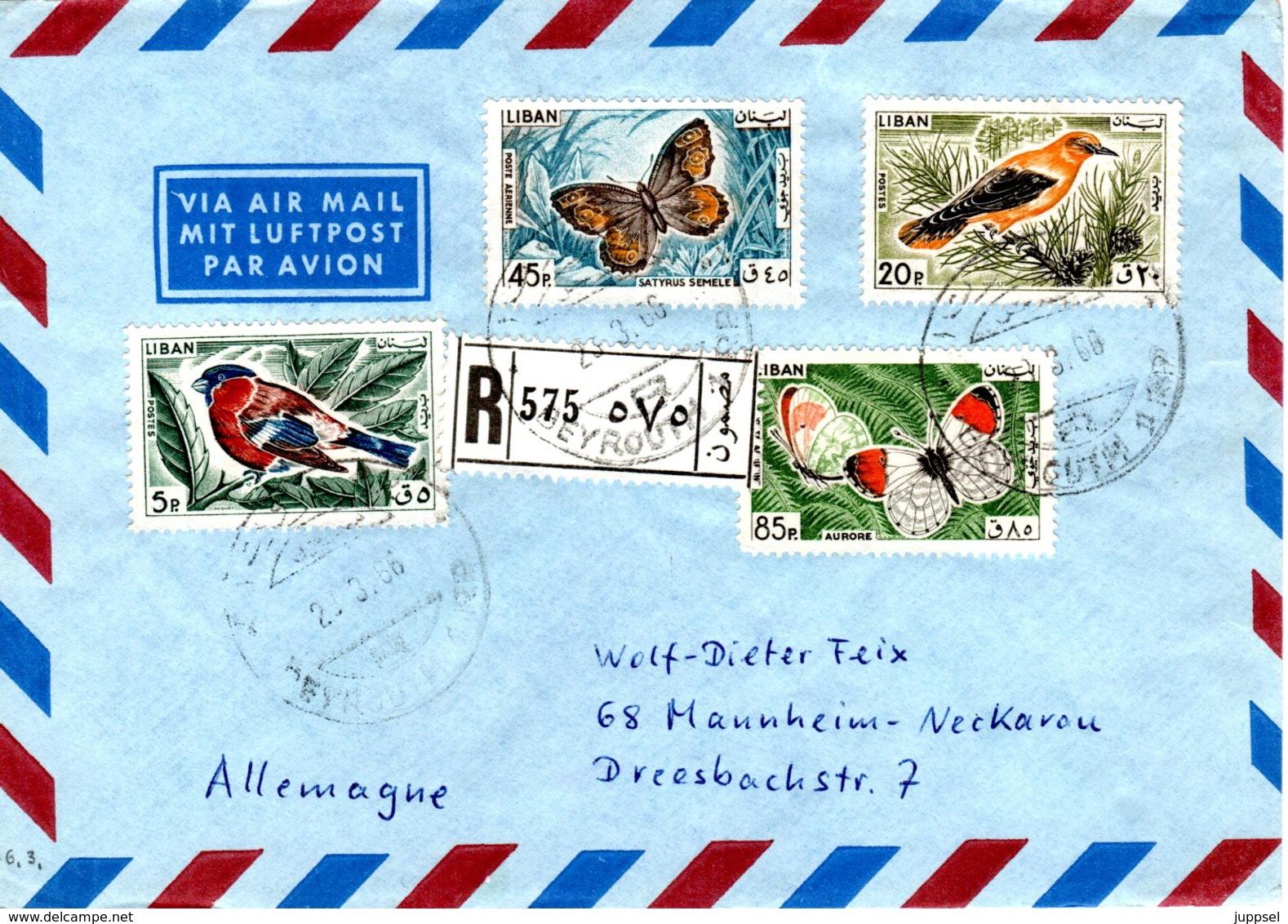 LEBANON,  Butterflies  /   LIBAN, Lettre,  Papillons - Farfalle