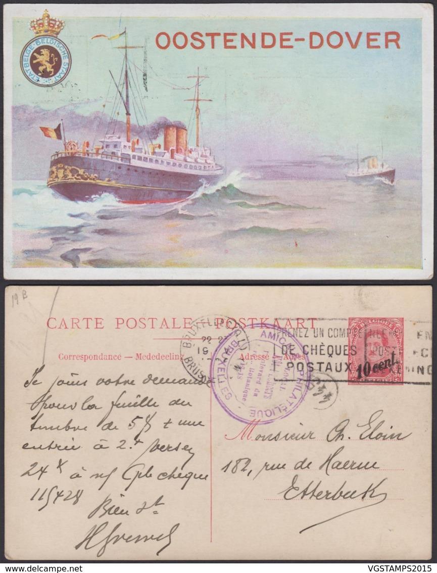 Belgique 1910- EP 10C Sur 30C Rouge - Carte Paquebot Voyagée Oostende-Douvres  (6G23184) DC0925 - Stamped Stationery