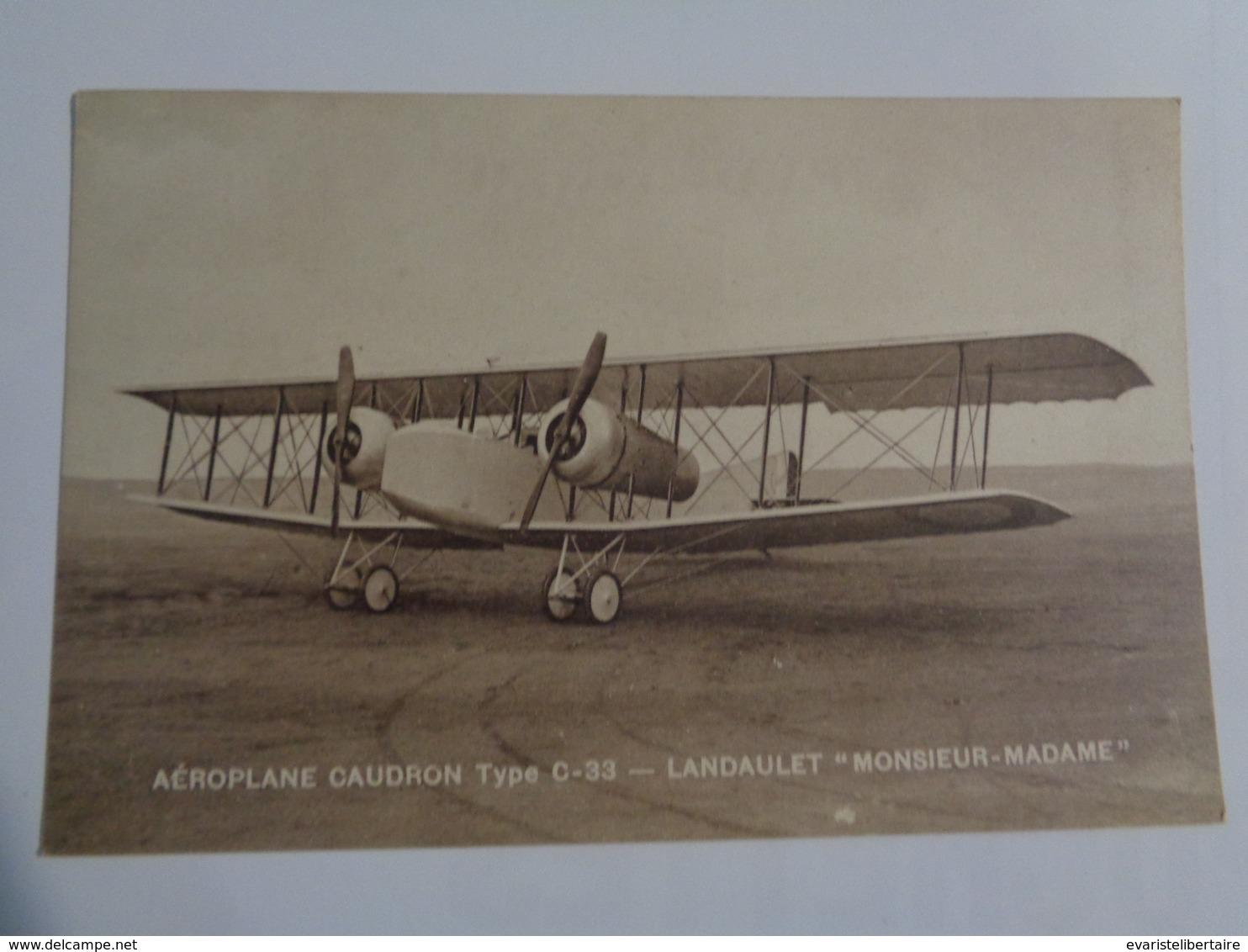 """Aéroplane Caudron ,type -33 ,  Landaulet   """"Monsieur & Madame"""" - 1919-1938: Entre Guerres"""