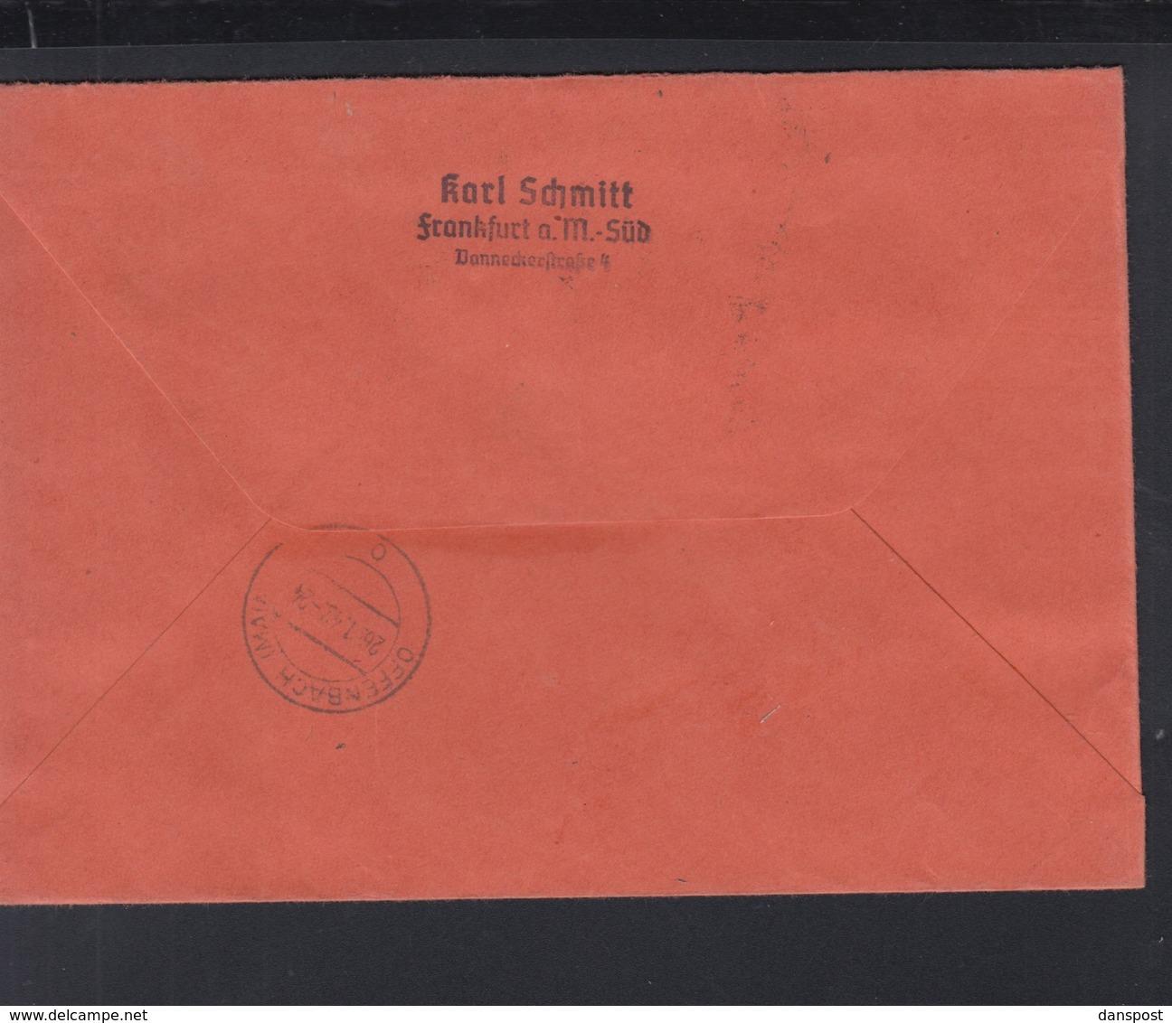 Dt. Reich R-Brief 1942 Frankfurt Am Main Marke Abgefallen - Briefe U. Dokumente