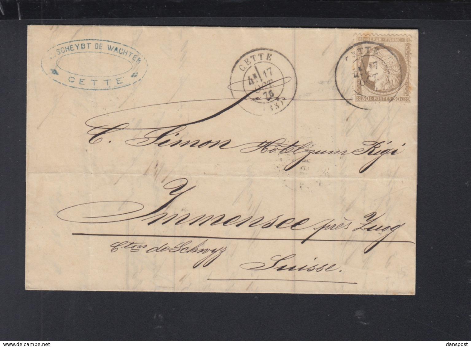 France Lettre 1875 Cette Pour La Suisse - Poststempel (Briefe)
