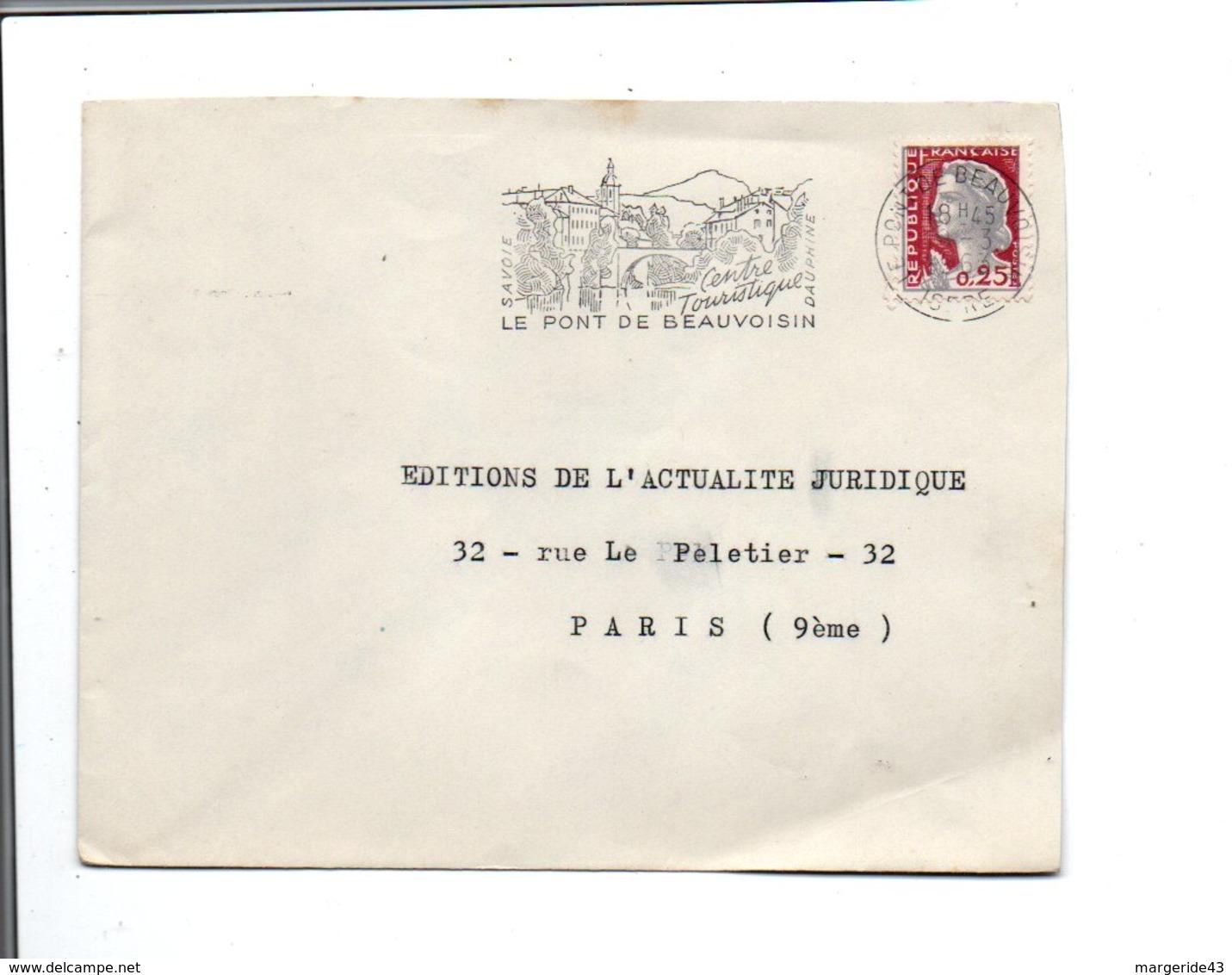 FLAMME DE LE PONT DE BEAUVOISIN INDRE 1963 - Mechanical Postmarks (Advertisement)