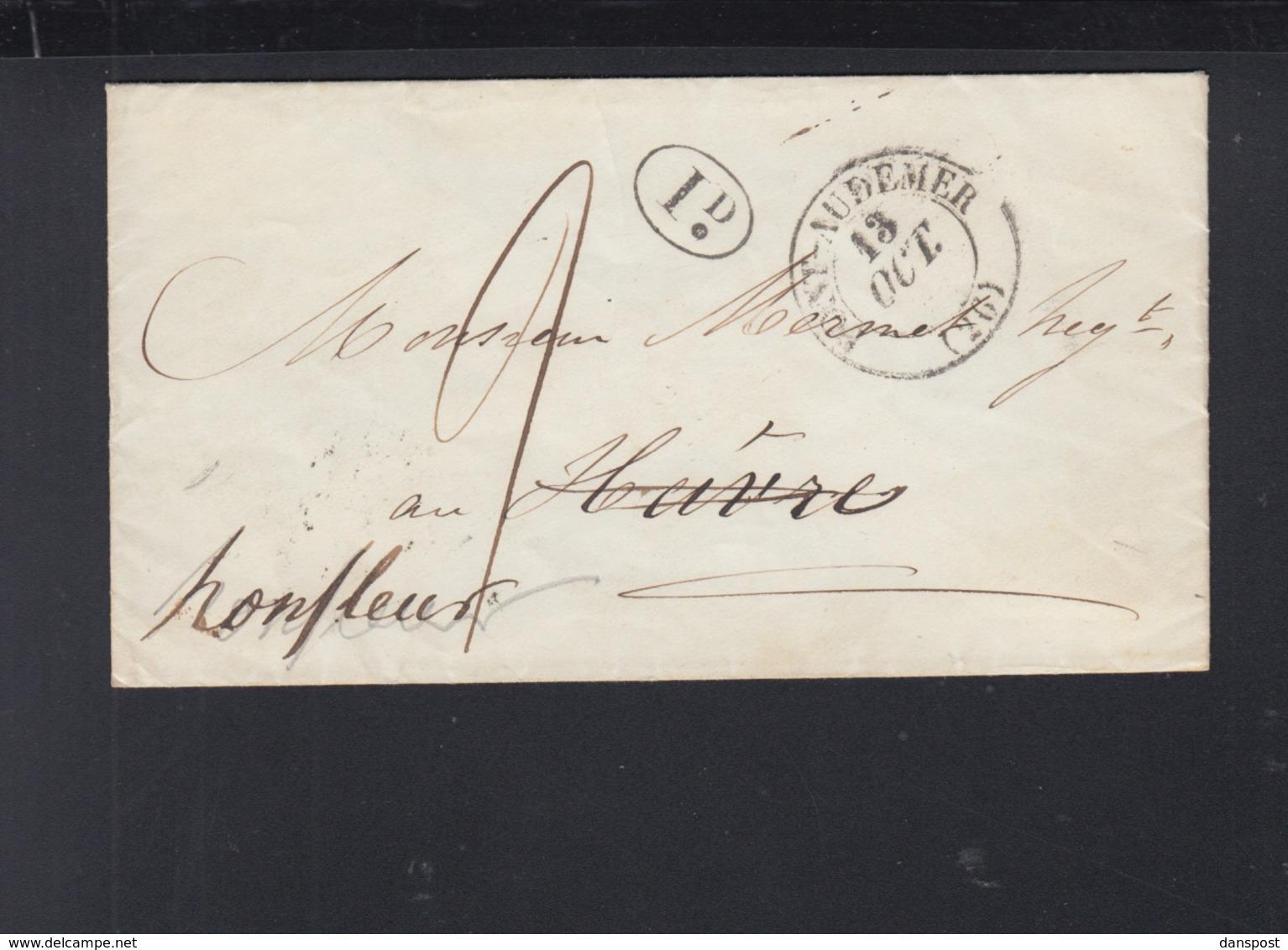 France Lettre 1845 Pont-Audemer Pour Le Havre - Poststempel (Briefe)