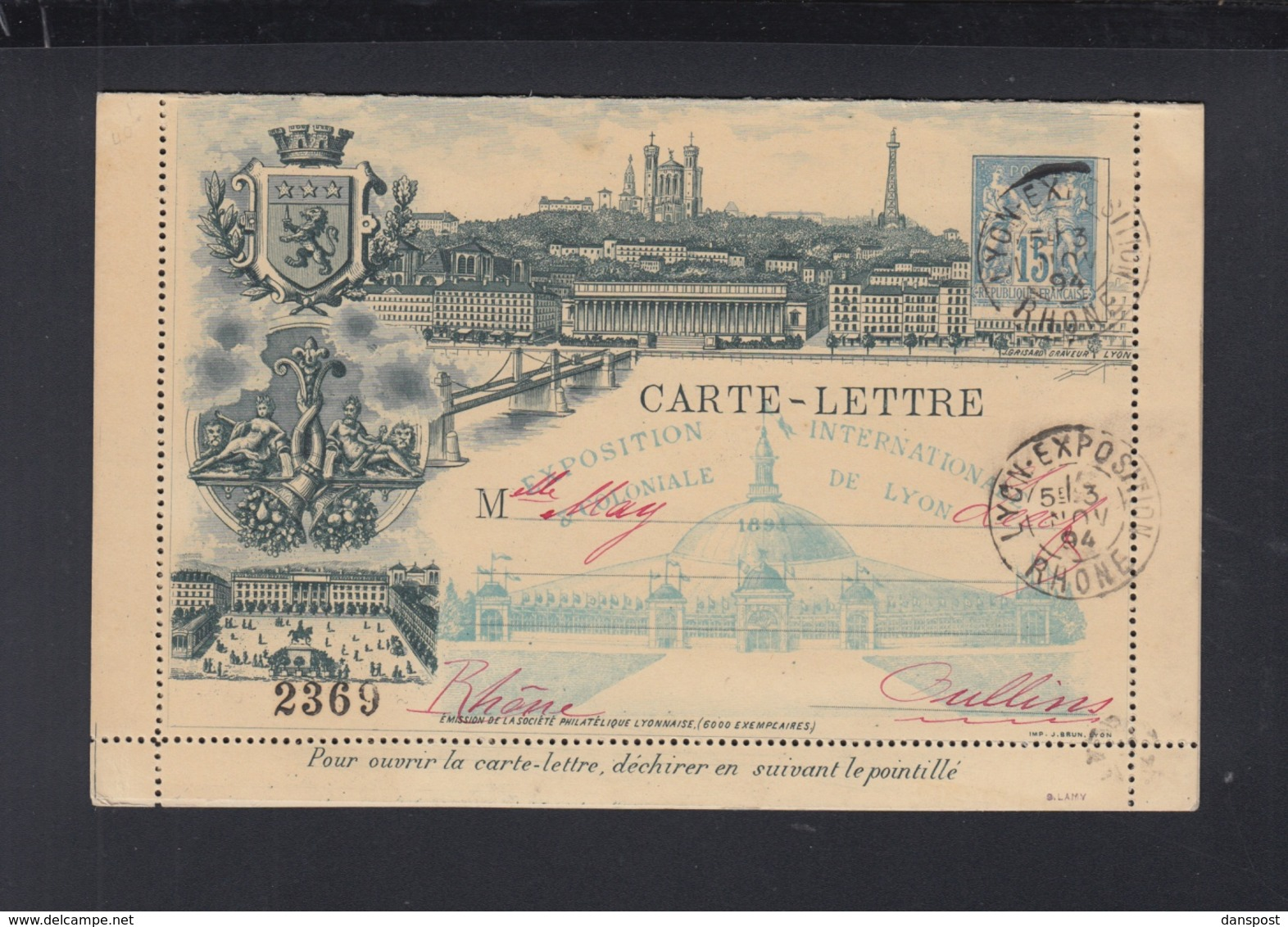 France Carte Lettre 1894 Exposition De Lyon - Ganzsachen
