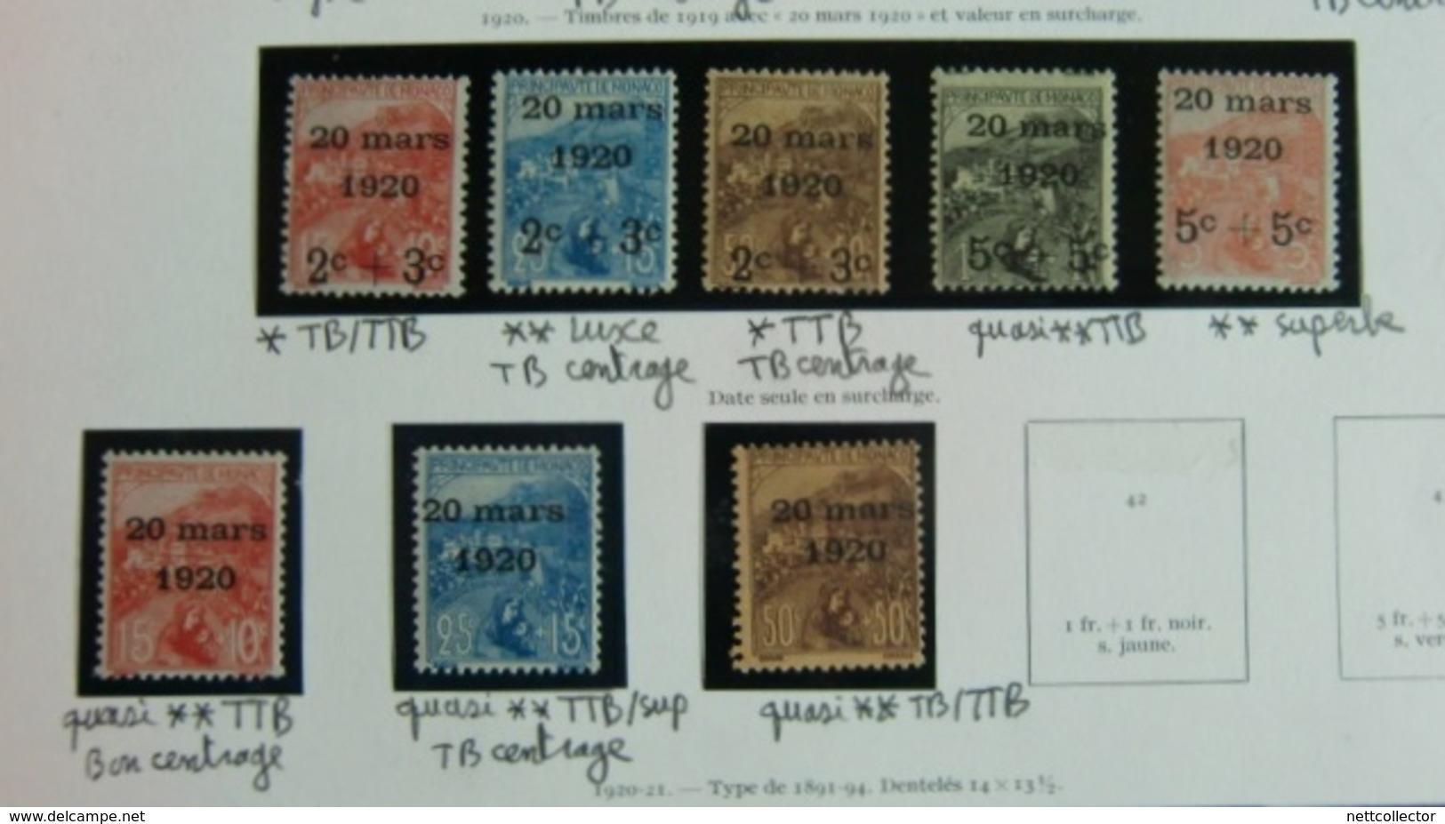 COLLECTION MONACO ANNEES 1914/1921 NEUFS */** TB/SUP. COTE TRES IMPORTANTE - Monaco