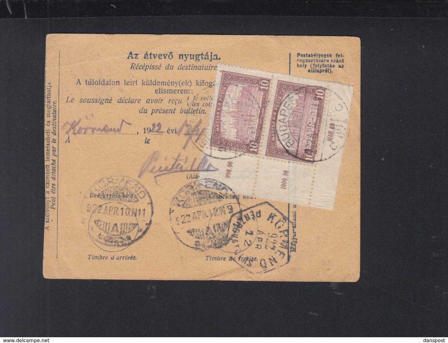 Hungary Parcel Card 1922 Budapest To Körmend - Ungarn