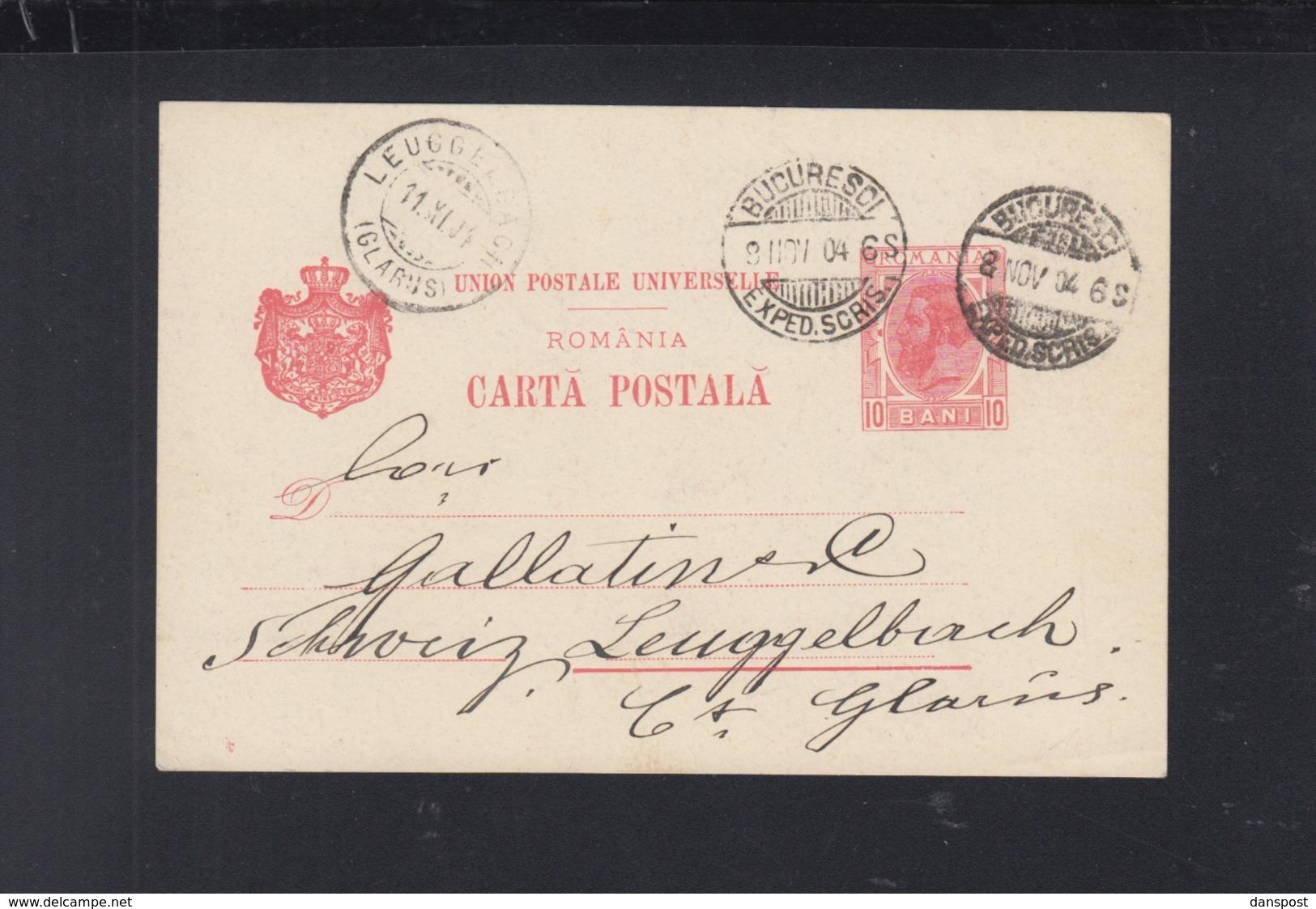Romania Stationery 1904 To Switzerland - Ganzsachen