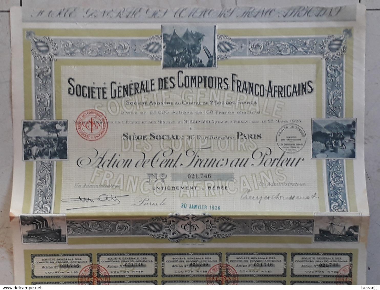 Action Au Porteur De 100 Francs Société Générales Des Comptoirs Franco Africains 1926 - Afrique