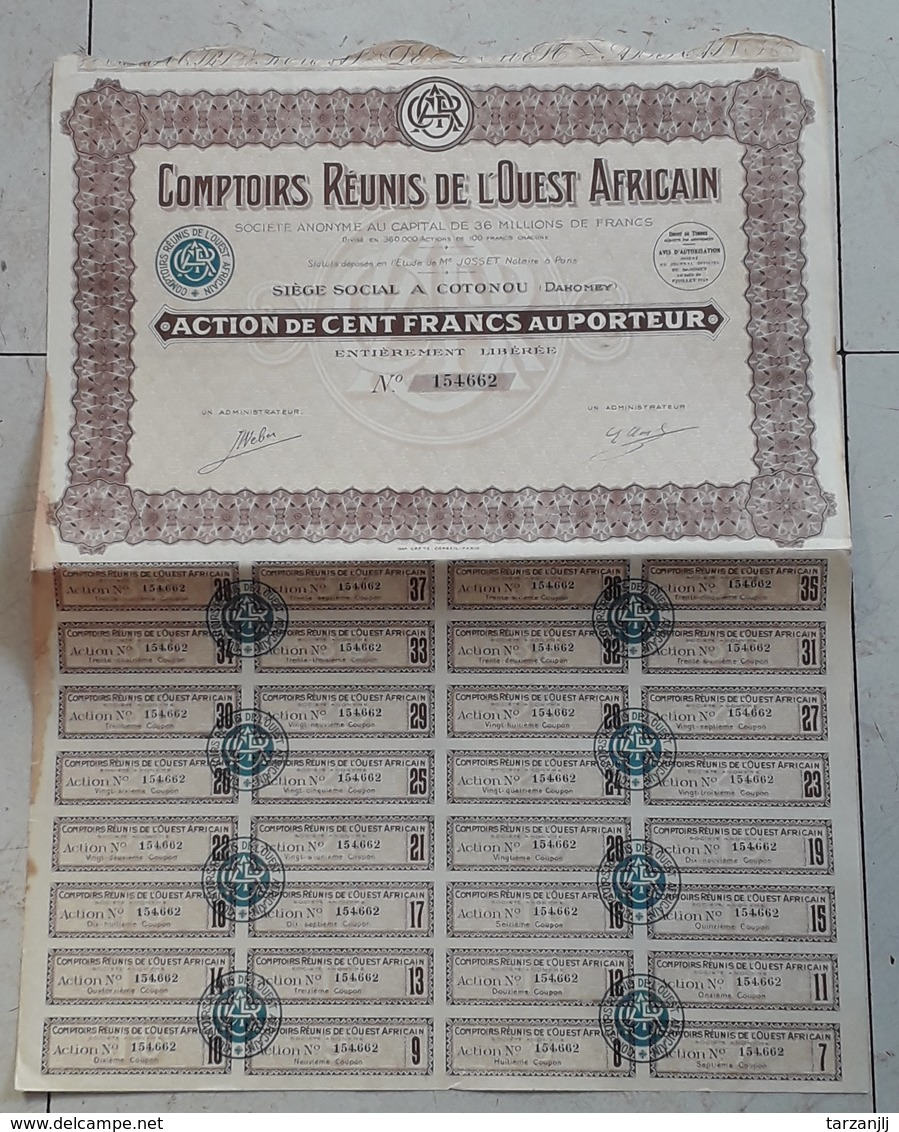Action Au Porteur De 100 Francs. Comptoirs Réunis De L'Ouest Africain 1929 - Afrique
