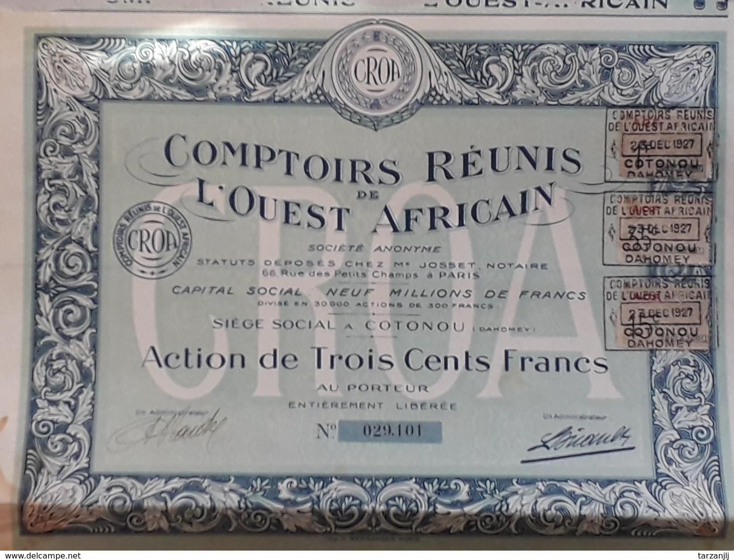 Action Au Porteur De 300 Francs. Comptoirs Réunis De L'Ouest Africain 1927 - Afrique