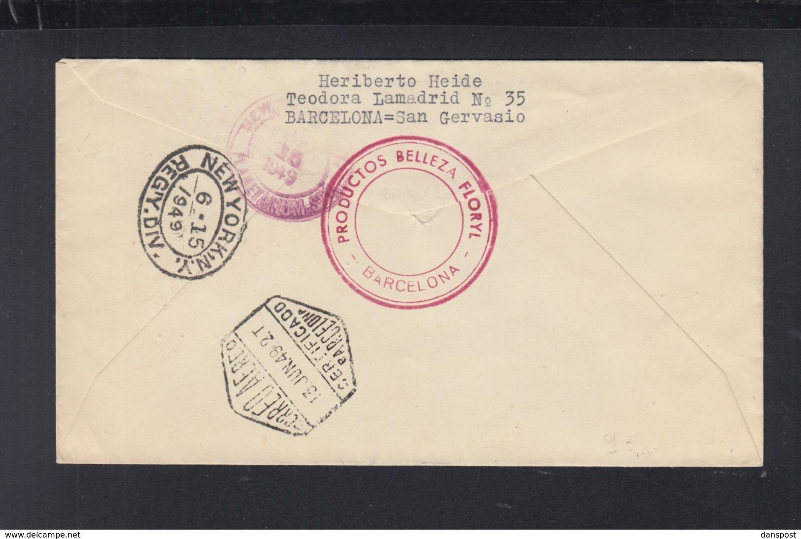 Spain Cover 1949 To USA Air Mail - 1931-Heute: 2. Rep. - ... Juan Carlos I