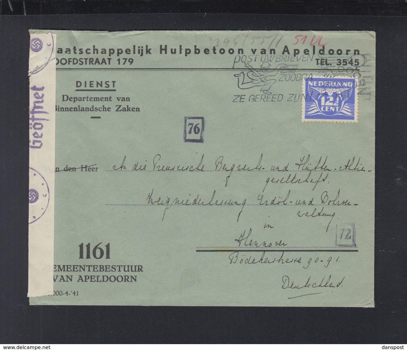 Netherlands Official Cover 1941 Apeldoorn - 1891-1948 (Wilhelmine)