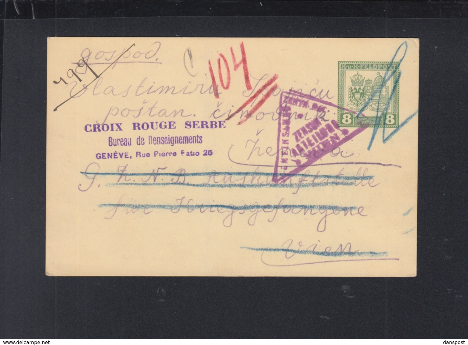 KuK Feldpost-PK Rotes Kreuz Serbien 1916 Krupanj - Briefe U. Dokumente
